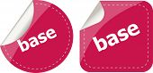 Base Word On Stickers Button Set, Business Label