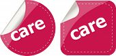 Care Word Stickers Set, Web Icon Button
