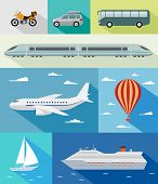 Various types of transport: car, bus, train, airoplane, air baloon, sailing boat, ship with long sha
