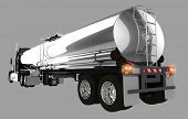 stock photo of semi trailer  - Tanker Trailer Isolated on Gray Background - JPG