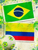 Brazil vs Colombia soccer ball concept