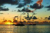 Beautiful sunset at Seychelles