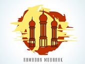 Beautiful maroon mosque on grungy red and yellow background for the holy month of Muslim community R