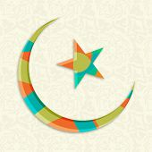 Colorful crescent moon with glossy star on seamless floral decorated background for holy month of Muslim community Ramadan Kareem.
