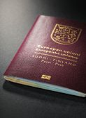 Closeup of Finnish (Finland) passport. This is the new (2013) design of the passport.