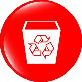 Eco Recycle Bin Icon On A White Background
