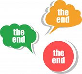 The End Words On Modern Banner Design Template. Set Of Stickers, Labels, Tags, Clouds
