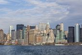 New York. view of lower Manhattan and battery park Skyline on a spring afternoon 2011. View from boa