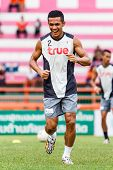 Sisaket Thailand-june 29: Ekkachai Sumrei Of Bangkok Utd. In Action During A Training Ahead Thai Pre