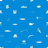 fishing icons blue and white seamless pattern eps10