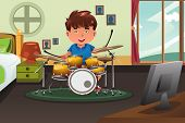 Kid Practicing Drum At Home