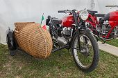 Motorcycle With Sidecar Of Wicker