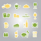 restaurant and pub stickers eps10