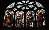 PARIS, NOV 05,2012: St Elizabeth, Zechariah, John the Baptist and Joseph stained glass in Church of