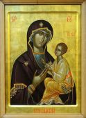 Icon Of Budslav Mother Of God And Child (jesus Christ) On Mahogany And Gold
