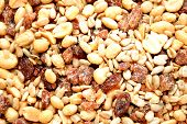 A Background Of Dried Raisins And Mixed Nuts