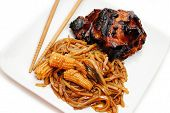 Asian Rice Noodles With Spicy Barbequed Chicken