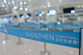SHENZHEN - APRIL 16: airport belt on April 16, 2014 in Shenzhen, China. Shenzhen Bao'an Internationa