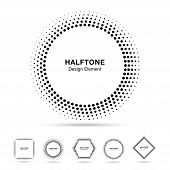 Set of Black Abstract Halftone Shapes