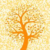 Orange Tree icon on Pixel Background