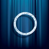 abstract vector background, diamond ring on blue velvet