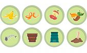 foto of decomposition  - Illustration of Ready to Print Stickers Featuring Composting Icons - JPG