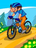 The Illustration Of A Cartoon Boy On A Bicycle.