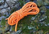 orange binding rope on stone with moss background