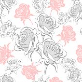 Seamless Pattern With Roses Pink On White Expand.eps
