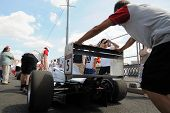 Mechanics Pushing Formula Russia Car