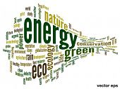 Vector eps concept or conceptual 3D abstract green ecology or energy and conservation word cloud tex