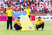 Sisaket Thailand-june 29: Unidentified People With Fifa Fair Play Flag Before Thai Premier League Ma