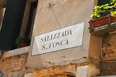 Street Name On A Wall Of Italian House In Venice, Italy