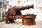 Old Rusted Coastal Cannon In Medina Of Tangier, Morocco