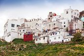 Tangier, Morocco. Old White Living Houses In Medina