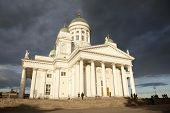 People Leaving Helsinki Cathedral In The Evening After Concert