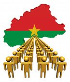 Lines of people with Burkina Faso map flag illustration