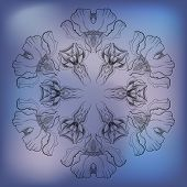 abstract pattern of irises on blue background