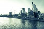 FRANKFURT, HESSE - February 12, River view of Frankfurt am Main. Frankfurt, is the largest city in t