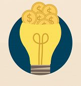 Light bulb with money coin. Vector illustration.
