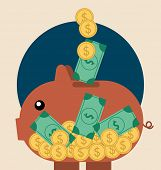 Piggy bank with coin over it. Modern Flat design vector illustration concept.