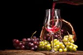 Still life with grapes and a glass of wine closeup