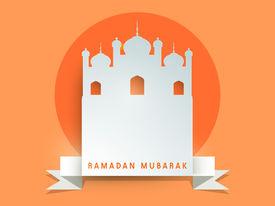 pic of ramazan mubarak  - Stylish grey paper mosque on orange background for holy month of muslim community Ramadan Mubarak celebrations - JPG