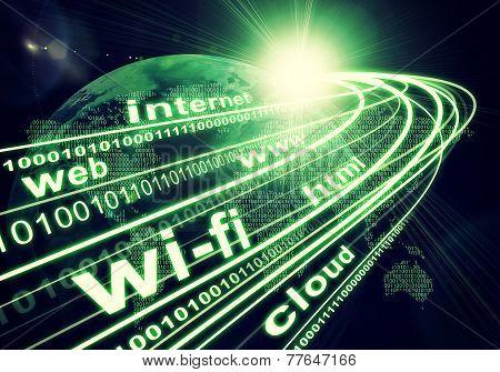 Постер, плакат: Earth continents light beams digits and words like internet web etc on dark background, холст на подрамнике