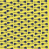 Abstract Guitar Backdrop In Blue And Yellow