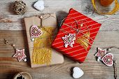 Christmas Decoration And Gift Box On Wooden Background