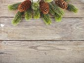 Christmas fir tree branch on old wooden surface for your text