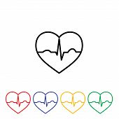 stock photo of ecg chart  - Simple minimalistic heart ecg icon design abstract - JPG