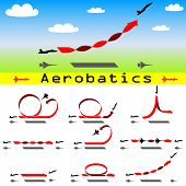 picture of aerobatics  - The Aerobatics airplane on blue sky background - JPG