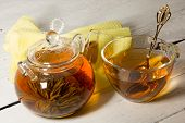 Transparent Teapot And Cup Of Tea